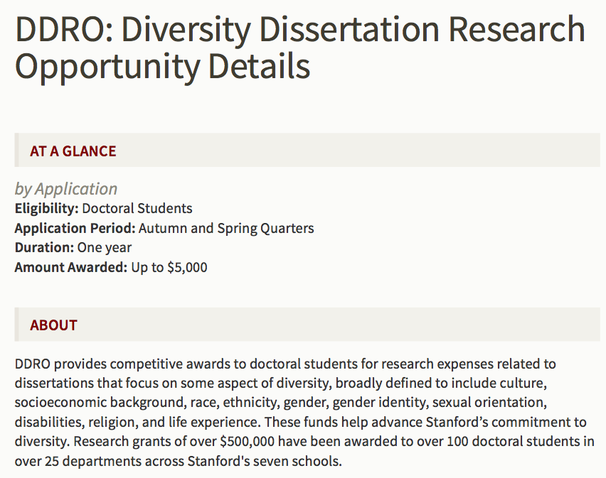 Dissertation research funds